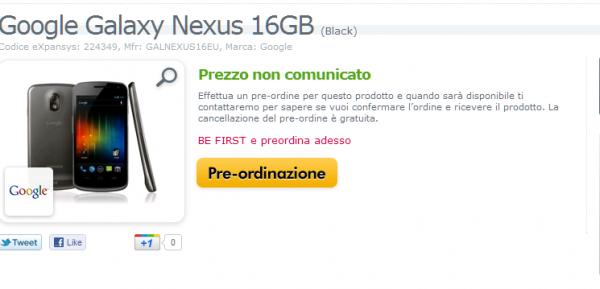 Novità Terminali | Disponibile il Galaxy Nexus su Expansys