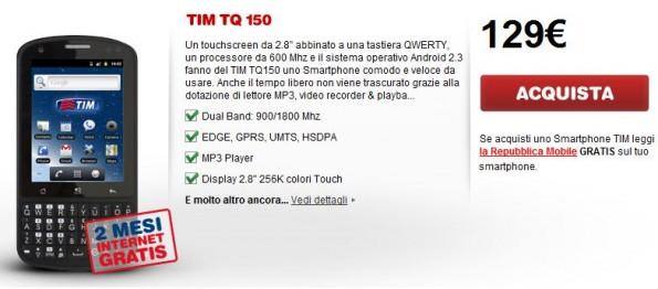 Novità Terminali| Onda TQ150: il nuovo smartphone Android in esclusiva per Tim