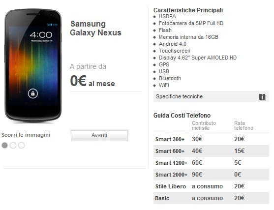 Novità Terminali   Samsung Galaxy Nexus: Le offerte di Tim e Vodafone