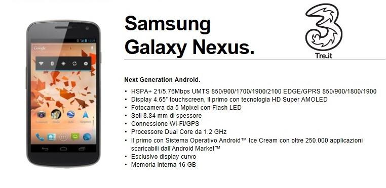 Novità Terminali | Samsung Galaxy Nexus: arrivano le tariffe di 3