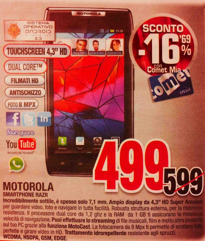 News Offerte | Motorola Razr a 499€ da Comet