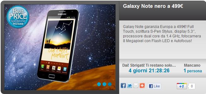 Novità| Galaxy Note a 499€ con Groupalia
