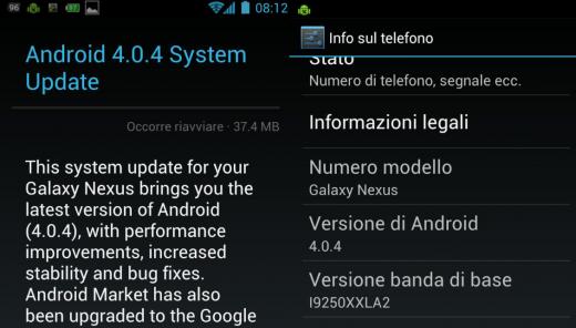 News Terminali | Arrivato l'update ad Android 4.0.4 per Samsung Galaxy Nexus