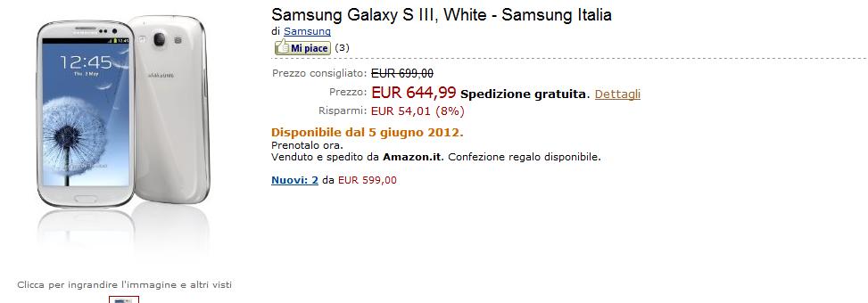 Novità Terminali  Galaxy S3 a 644€ da giugno su Amazon.it
