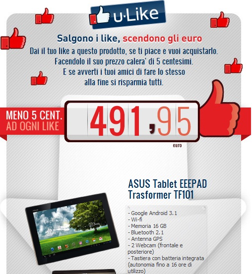 News Tablet | Asus Eee Pad Transformer TF-101 in offerta con u-Like di Unieuro