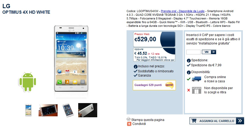 News Terminali | LG Optimus 4X HD preordinabile da Unieuro