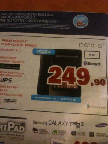 News Terminali | Il Nexus 7 appare sul volantino di Unieuro.
