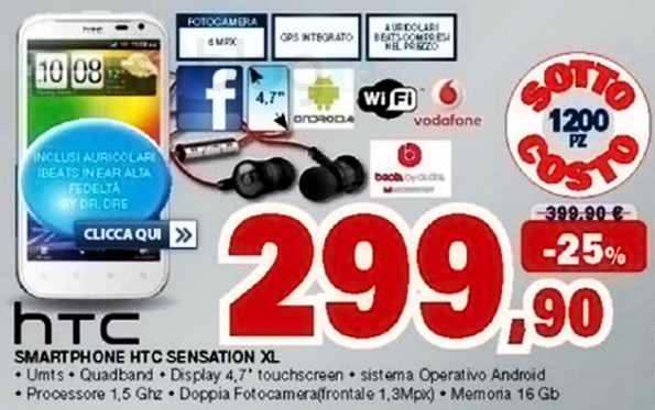 News| HTC Sensation XL con Beats Audio a 299 euro da Unieuro!!