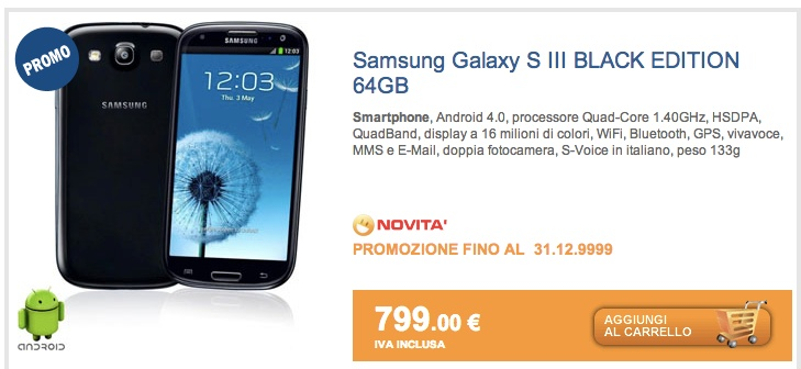 Novità Terminali| Galaxy S3 Black Edition da 64 GB disponibile anche in Italia