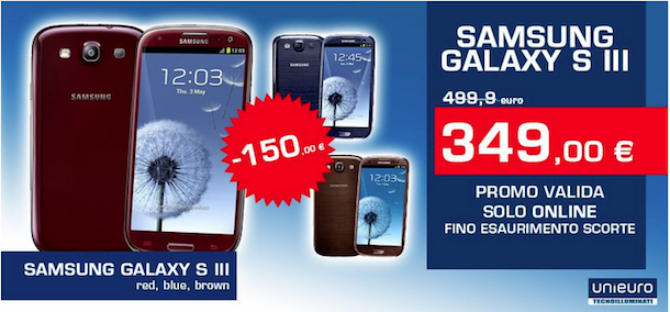 Acquisti Intelligenti| Galaxy S3 blue, red e brown in offerta da Unieuro!