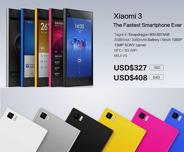 News IFA 2013 |  Xiaomi Mi 3 svelato ufficialmente a scelta a partire da 250€