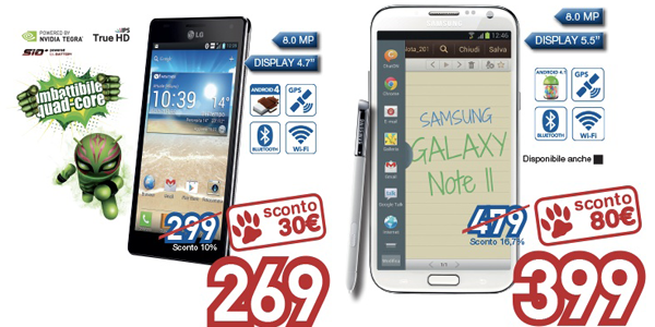 Acquisti Intelligenti | Galaxy Note II ed LG Optimus 4X HD in offerta da euronics