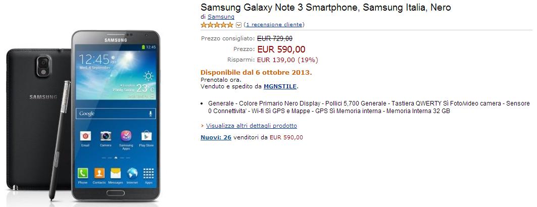 Acquisti Intelligenti | Galaxy Note 3 a soli 590 euro su Amazon.it