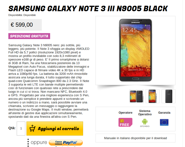 Offerta Del Giorno | Galaxy Note 3 Garanzia Europea a solo 599 euro