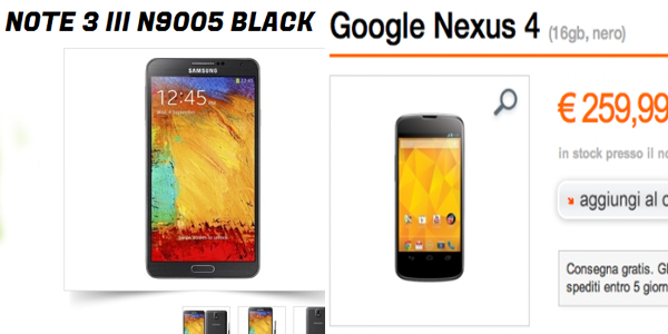 SUPER OFFERTE | Galaxy Note 3 a 569 euro e Nexus 4 a soli 259 euro!!!