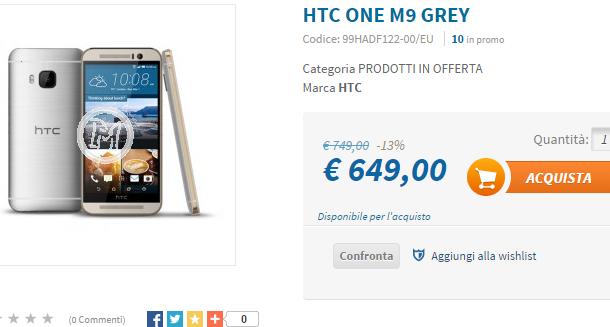 HTC ONE M9 al prezzo più basso del web, eccolo a soli… 649 euro!