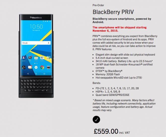 BlackBerry Priv - Pre-ordini avviati in Canada, Inghilterra e USA