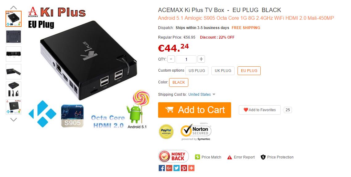 ACEMAX Ki Plus TV Box piccola Android TV octa core a poco più di 40 euro