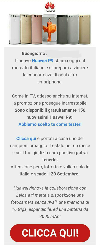 Huawei P9, proposta di device test? Attenzione alla mail di spam
