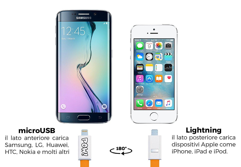Pow, il cavo 2 in1 che ricarica il tuo iphone e dall'altro lato il tuo Android